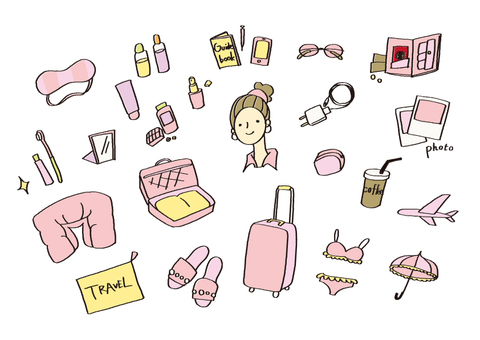Hand-painted illustration material (travel) color