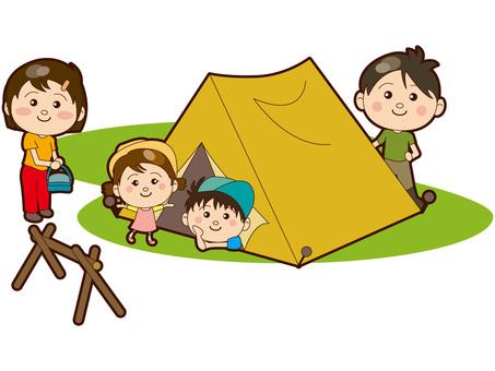 캠핑을하는 가족