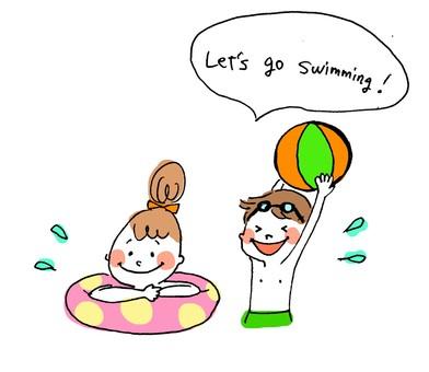 girl&boy_swimming