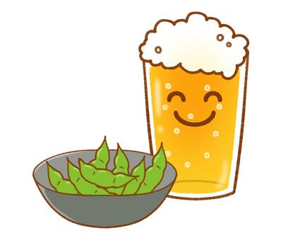 Set of Niconi Beer and Edamame