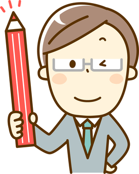 Teacher with red pencil