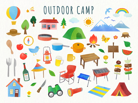 Outdoor and camping illustration set