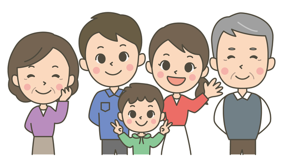 Three generations five people family (boys)