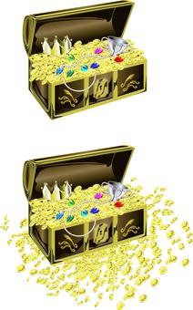 Treasure chest treasure jewel gold coin crown found