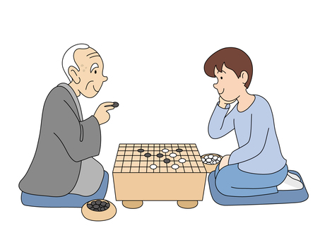 Grandfather who plays go and grandchild