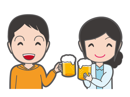 A toast with beer male and female