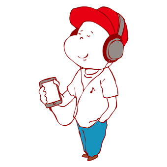 Man listening to music on a smartphone