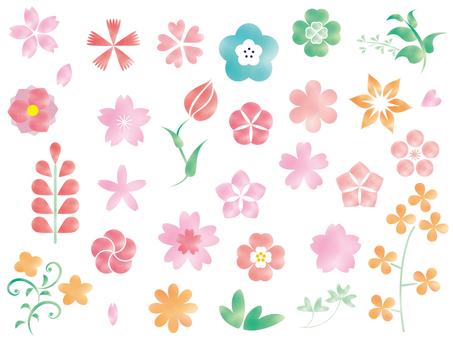 봄의 식물 수채화 풍