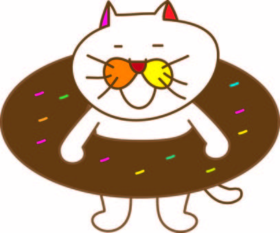 Amusing cat Tachiko and donuts