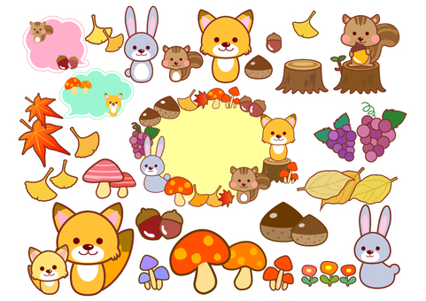 Autumn animals with border