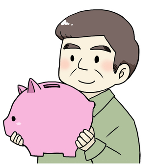 Piggy bank and men