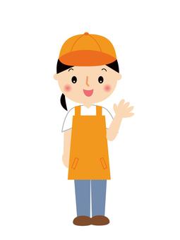 Woman clerk full body illustration in apron