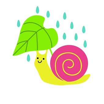 Snail making leaves umbrella
