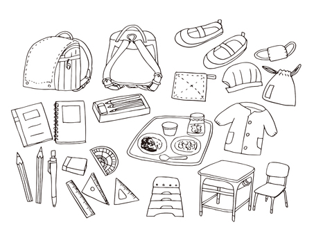 Elementary school set (line drawings)