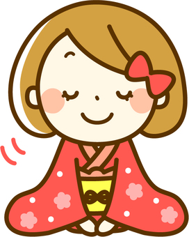 Kimono girls greeting