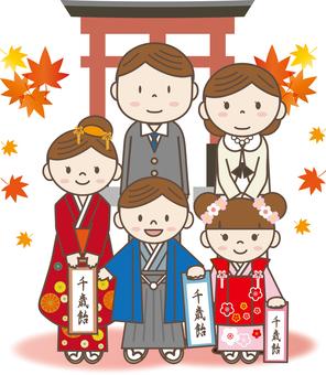 Shichigosan 15 (parent and child, Torii, Momiji)