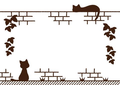고양이와 벽돌 담 프레임