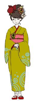 기모노 여성 (금붕어의 머리 장식)