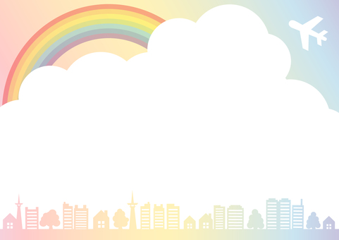 Rainbow colored sky, airplane, city and wooden frame border