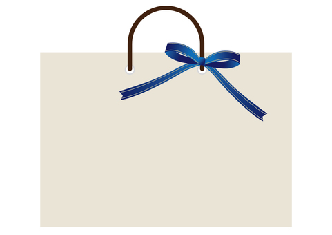 Shopping bag and blue ribbon