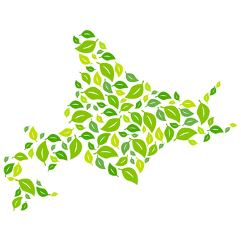 Hokkaido map with green 3 (leaves