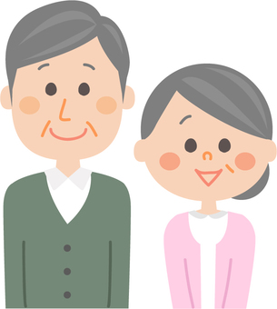 Senior couple with a smile upright