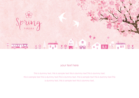 Spring background frame 033 Sakura city watercolor