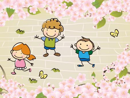 Cherry blossoms and children