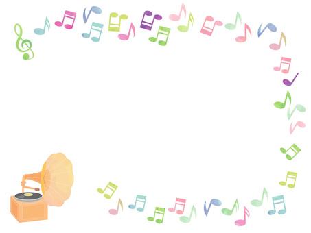 蓄音機と音符