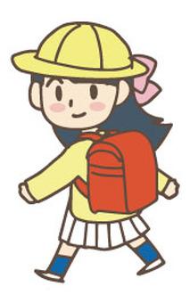 Walking girl wearing a hat