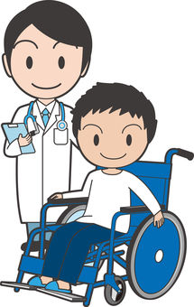 A boy on a wheelchair with a doctor