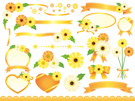 Yellowish gerbera and ribbon frame material collection