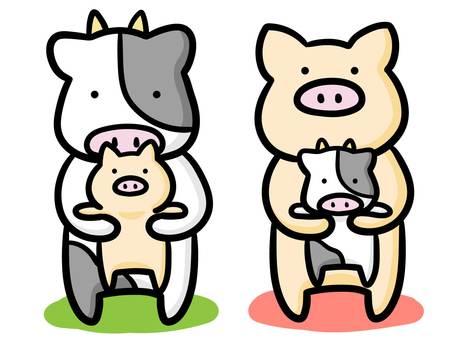Illustration of livestock holding children