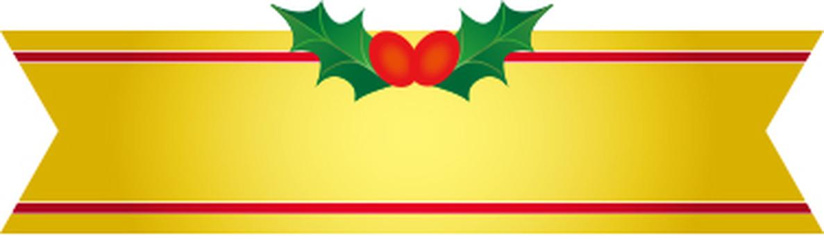 크리스마스 리본 레이블 골드