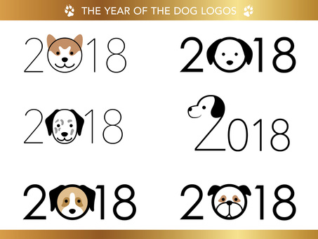 2018 year logo set