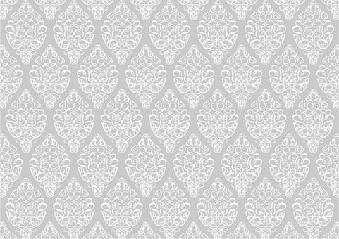 グレーのダマスク柄のシンプルパターン背景