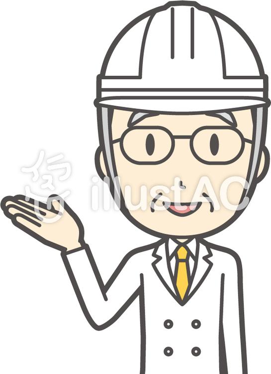 白髪男性医師-118-バストのイラスト