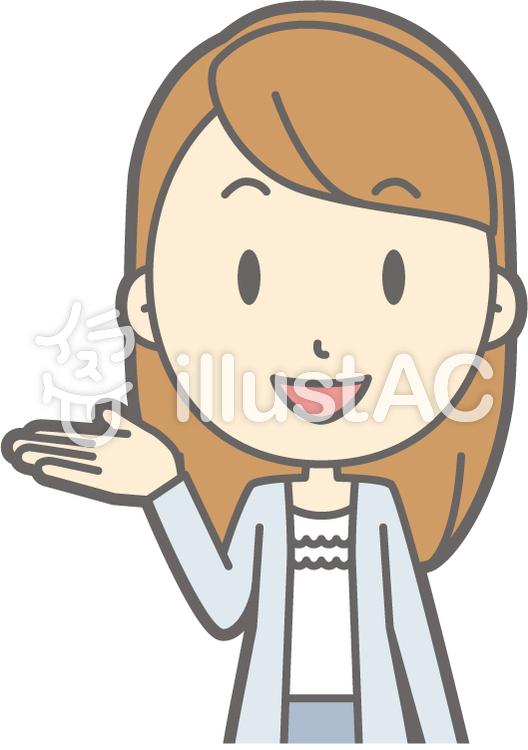 女子大生a-案内笑顔-バストのイラスト