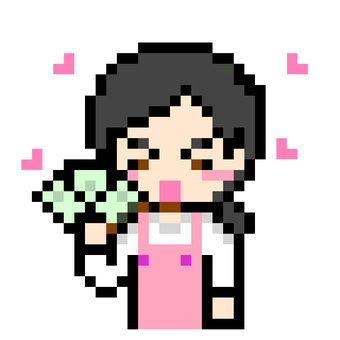 Woman in pink apron with bills
