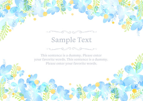 Girly material 047 Blue flower frame