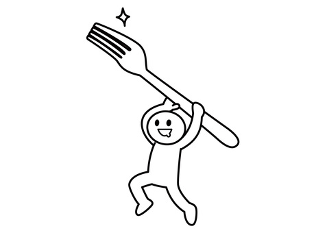 Stickman-carrying a fork