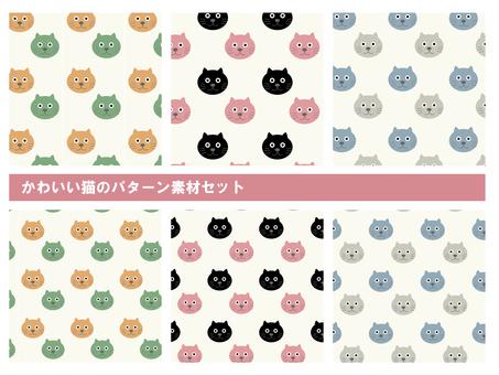 Cute cat pattern material set A