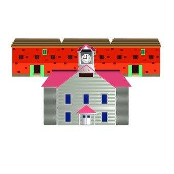 삿포로 시계탑과 벽돌 건물