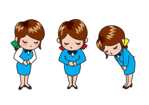 Female employees who bow