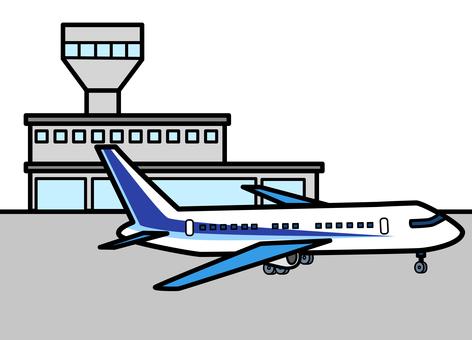 공항 터미널과 비행기