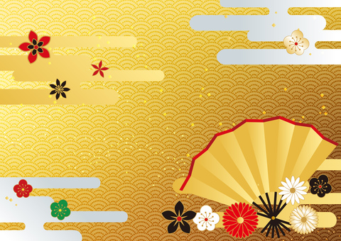 New Year _ and handle _ gold foil _ background