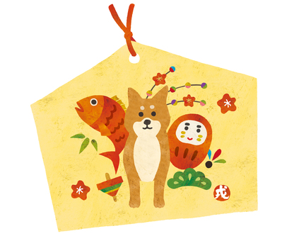 An ema of snapper and shiba Inu