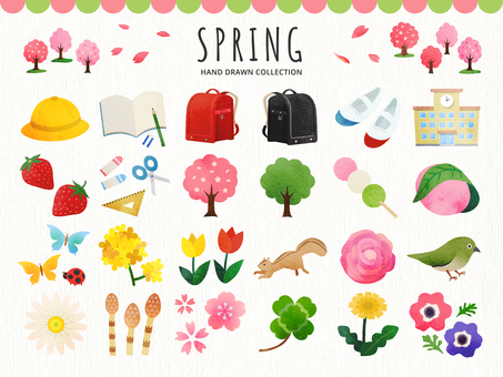 Hand drawn illustration set of spring and flowers and entrance to school