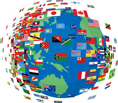 地球 国旗 グローバル 世界 ワールド