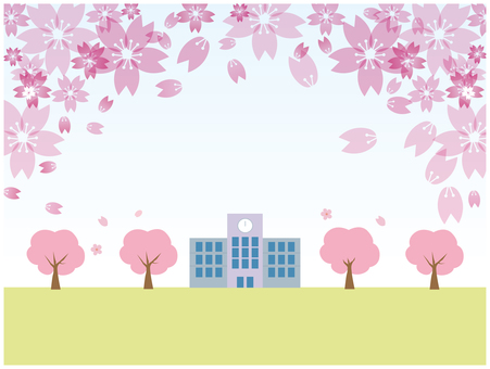 School landscape with cherry blossoms blooming in spring